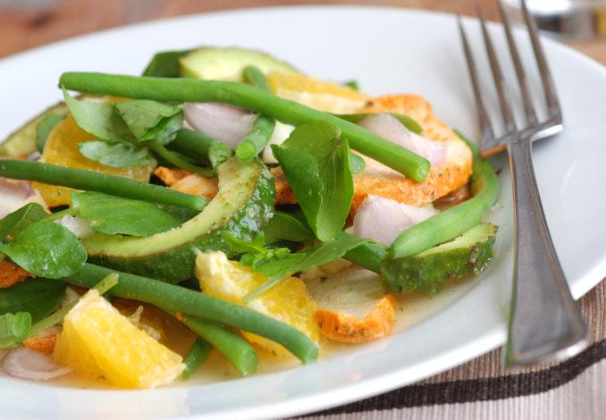 salade haricots verts cresson