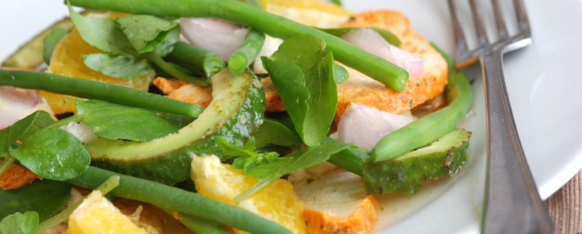 salade haricots verts cresson
