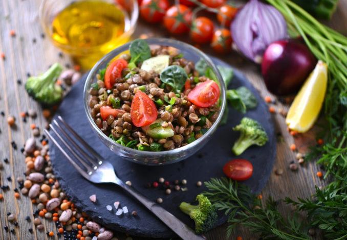 salade de lentilles saumon